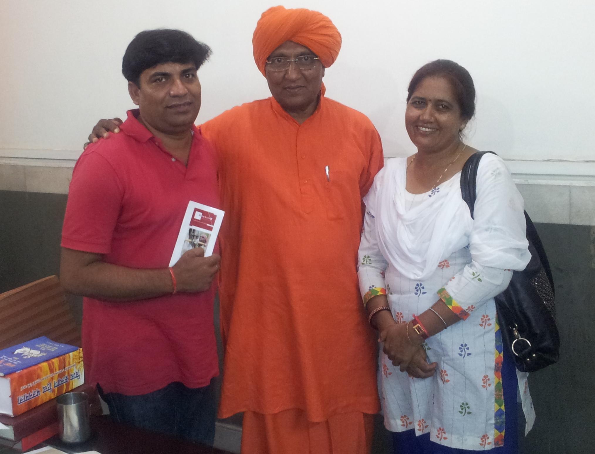 Rajnath (links), Swami Agnivesh, Anju Rai (rechts)